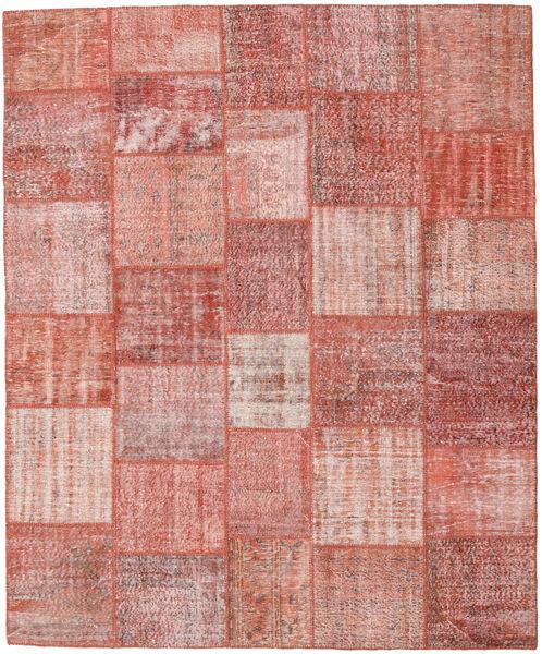 Patchwork Matto 251X303 Moderni Käsinsolmittu Vaaleanpunainen/Ruoste/Tummanbeige Isot (Villa, Turkki)