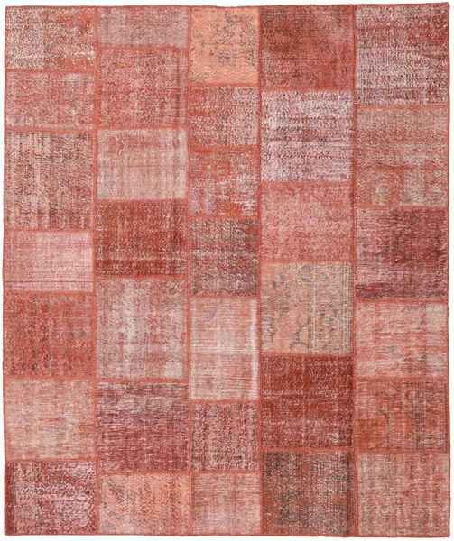 Patchwork Matto 252X302 Moderni Käsinsolmittu Tummanpunainen/Ruoste/Vaaleanpunainen Isot (Villa, Turkki)