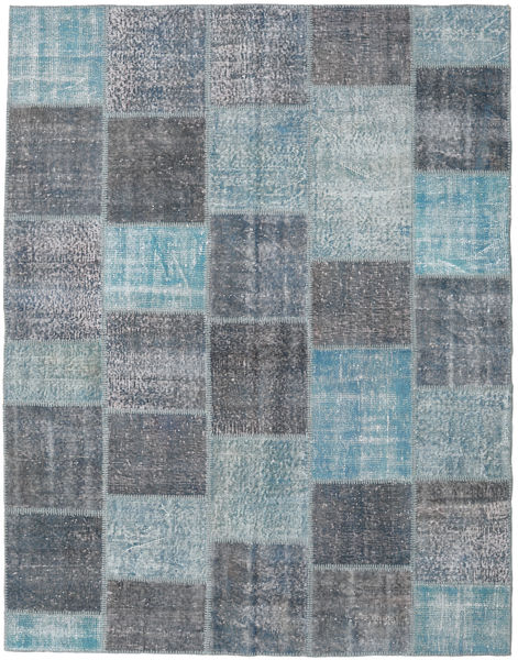 Patchwork Rug 196X253 Authentic  Modern Handknotted Light Blue/Dark Grey (Wool, Turkey)