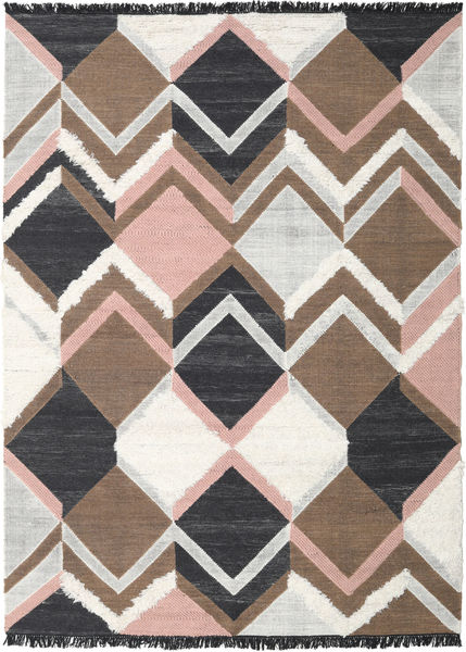 Silvana - Soft Pink Rug 250X350 Authentic  Modern Handwoven Brown/Dark Grey Large (Wool, India)