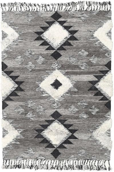 Inka - Negro/Blanco Alfombra 140X200 Moderna Tejida A Mano Gris Oscuro/Gris Claro (Lana, India)