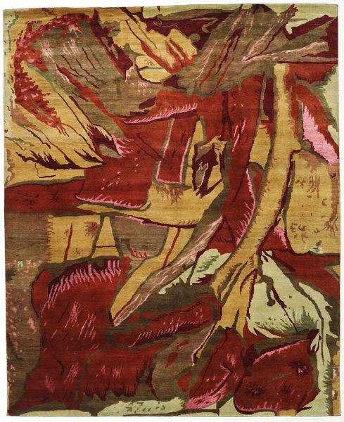 Damask Indo Matto 244X298 Moderni Käsinsolmittu Tummanruskea/Ruskea ( Intia)
