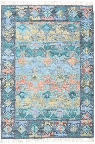 Azteca - Blå Multi Matta 160X230 Äkta Modern Handvävd Ljusblå/Ljusgrå (Ull, Indien)