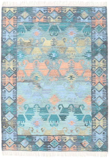 Azteca - Blue Multi Rug 140X200 Authentic  Modern Handwoven Light Blue/Light Grey (Wool, India)
