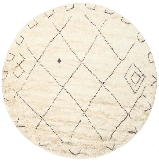 Almaaz - White Rug Ø 250 Authentic  Modern Handknotted Round Beige Large (Wool, India)