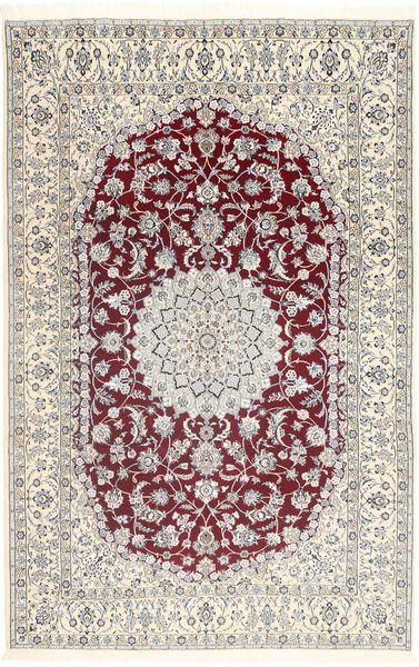 Nain 9La Tappeto 202X320 Orientale Fatto A Mano Grigio Chiaro/Bianco/Creme (Lana/Seta, Persia/Iran)