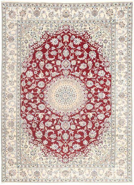 Nain 9La Vloerkleed 249X350 Echt Oosters Handgeknoopt Lichtgrijs/Beige (Wol/Zijde, Perzië/Iran)