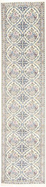 Nain 9La Matto 90X389 Itämainen Käsinsolmittu Käytävämatto Vaaleanharmaa/Beige (Villa/Silkki, Persia/Iran)