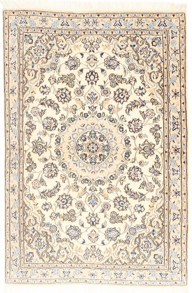 Nain 9La Rug 96X147 Authentic  Oriental Handknotted Beige/Light Brown (Wool/Silk, Persia/Iran)