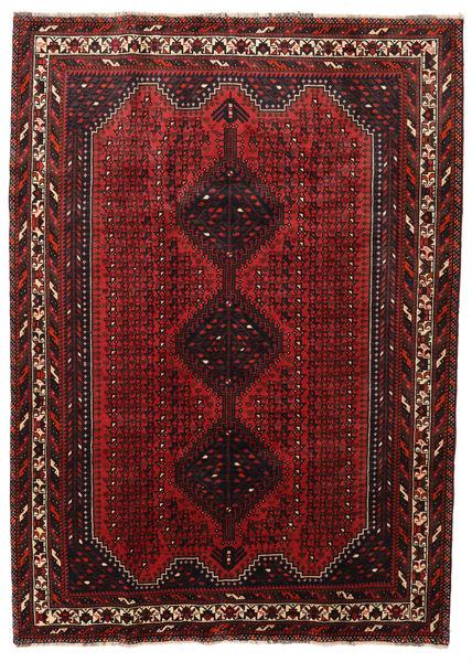 Shiraz Matto 205X282 Itämainen Käsinsolmittu Tummanpunainen/Tummanruskea (Villa, Persia/Iran)