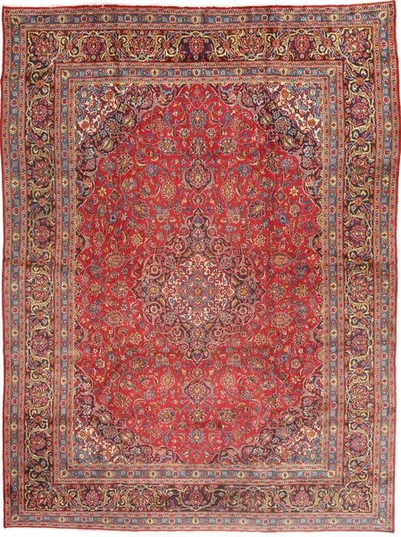 Mashad Rug 280X385 Authentic  Oriental Handknotted Light Brown/Dark Red Large (Wool, Persia/Iran)