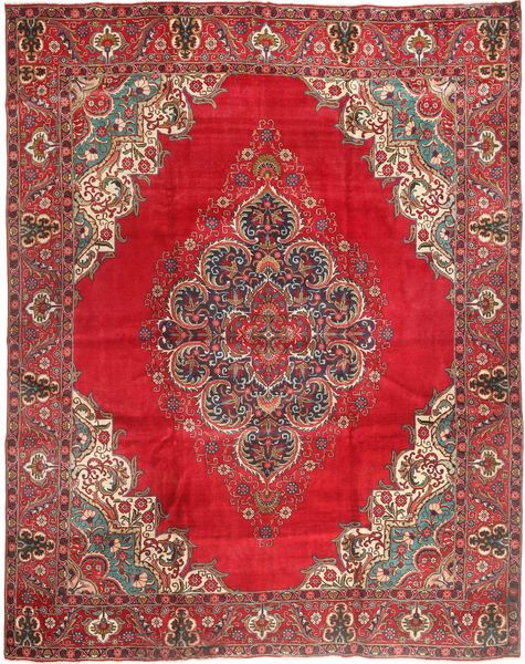 Tabriz Rug 310X380 Authentic  Oriental Handknotted Brown/Crimson Red Large (Wool, Persia/Iran)
