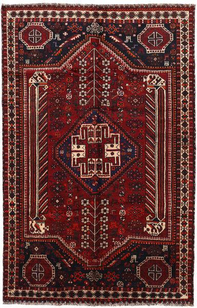 Shiraz Matto 159X243 Itämainen Käsinsolmittu Tummanruskea/Tummanpunainen (Villa, Persia/Iran)