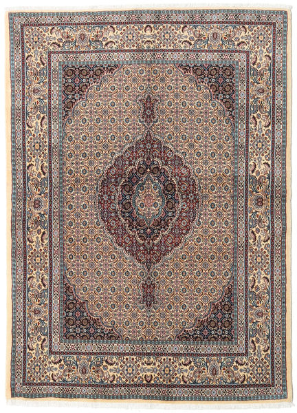 Moud Rug 146X200 Authentic  Oriental Handknotted Light Brown/Light Grey (Wool/Silk, Persia/Iran)