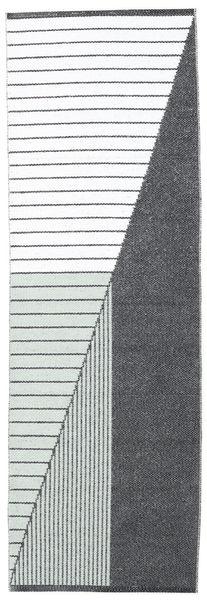 Diagonal - Schwarz/Grün Teppich  70X210 Moderner Läufer Weiß/Creme/Dunkelgrau ( Schweden)
