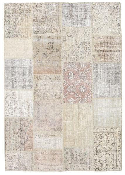 パッチワーク 絨毯 158X230 モダン 手織り 薄い灰色/薄茶色 (ウール, トルコ)