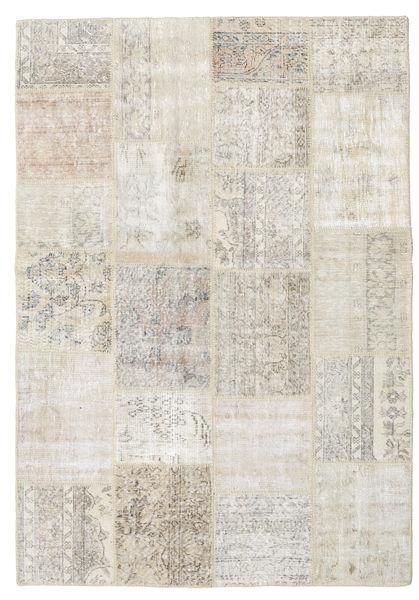 Patchwork Tapis 158X230 Moderne Fait Main Gris Clair/Beige Foncé (Laine, Turquie)