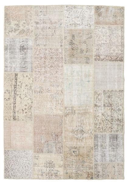 Patchwork Matto 159X231 Moderni Käsinsolmittu Vaaleanharmaa/Vaaleanruskea (Villa, Turkki)