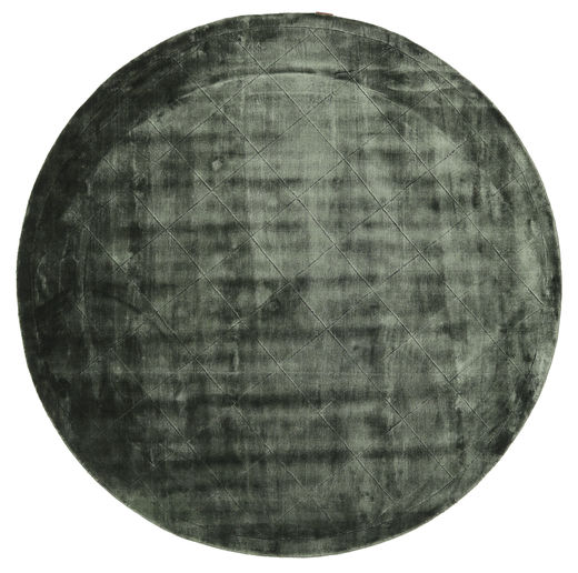 Brooklyn - Moss Green Rug Ø 300 Modern Round Dark Grey/Black/Dark Blue Large ( India)