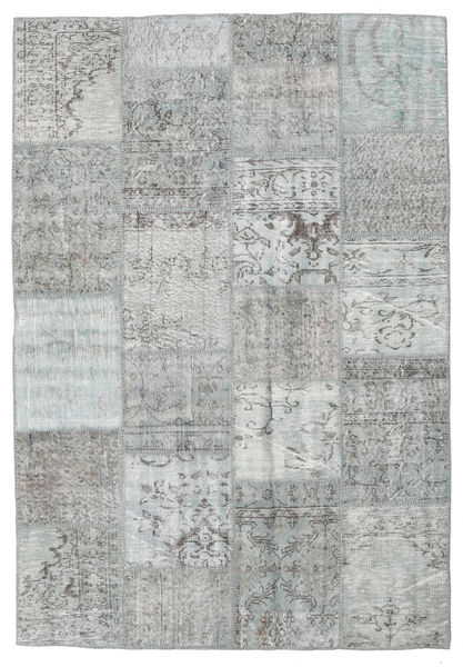 Patchwork Matto 160X231 Moderni Käsinsolmittu Vaaleanharmaa (Villa, Turkki)