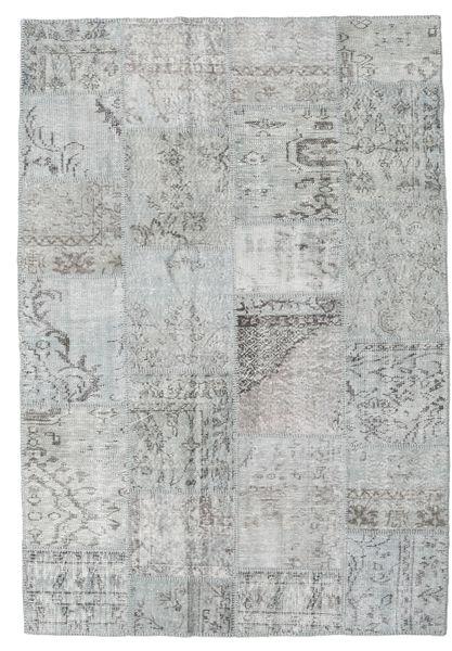 Patchwork Matto 158X231 Moderni Käsinsolmittu Vaaleanharmaa (Villa, Turkki)