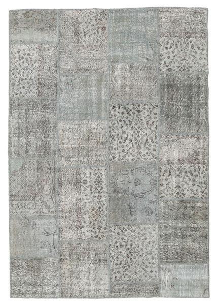 Patchwork Matto 160X232 Moderni Käsinsolmittu Vaaleanharmaa/Tummanharmaa (Villa, Turkki)
