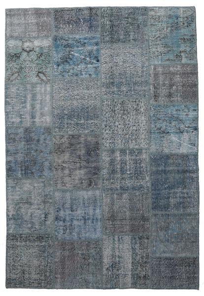 Patchwork Matto 160X232 Moderni Käsinsolmittu Tummanharmaa/Vaaleansininen (Villa, Turkki)