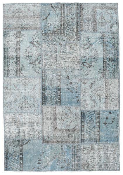 Patchwork Alfombra 159X233 Moderna Hecha A Mano Gris Claro/Azul Claro (Lana, Turquía)