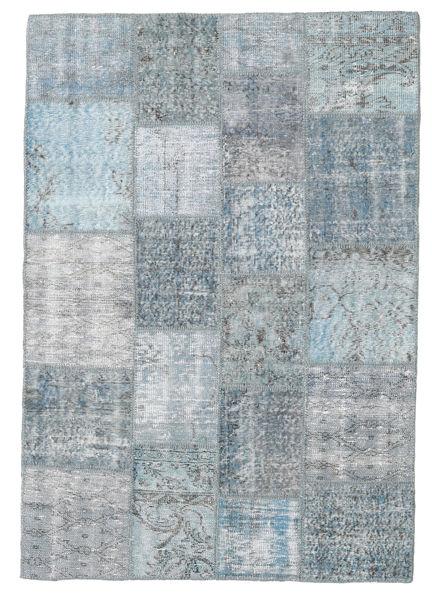 Patchwork Matto 139X201 Moderni Käsinsolmittu Vaaleanharmaa/Vaaleansininen (Villa, Turkki)