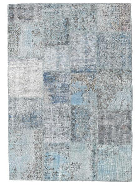 Patchwork Matto 138X201 Moderni Käsinsolmittu Vaaleanharmaa/Vaaleansininen (Villa, Turkki)