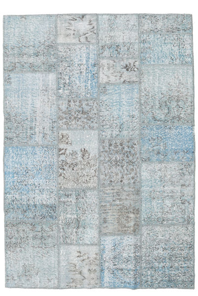 Patchwork Rug 140X202 Authentic  Modern Handknotted Light Grey/Light Blue (Wool, Turkey)