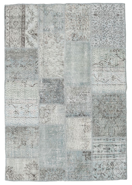 Patchwork Rug 138X202 Authentic  Modern Handknotted Light Grey (Wool, Turkey)