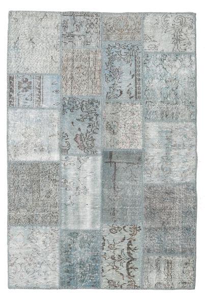 Patchwork Teppich  138X206 Echter Moderner Handgeknüpfter Hellgrau (Wolle, Türkei)