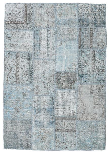 Patchwork Rug 139X200 Authentic  Modern Handknotted Light Grey/Light Blue (Wool, Turkey)