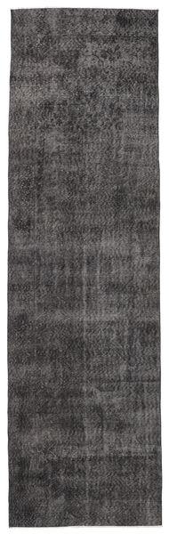 カラード ヴィンテージ 絨毯 91X312 モダン 手織り 廊下 カーペット 黒/濃いグレー (ウール, トルコ)