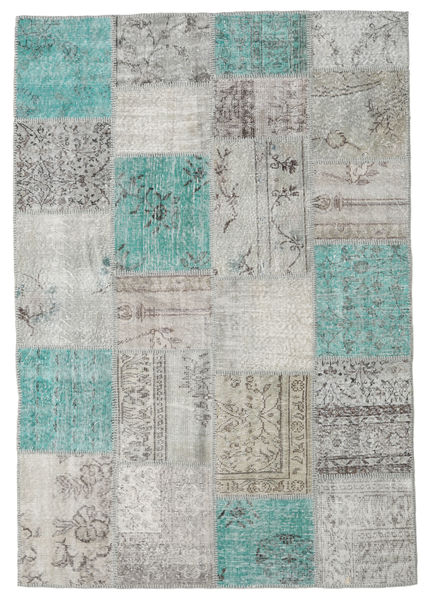 Patchwork Rug 160X230 Authentic  Modern Handknotted Light Grey/Turquoise Blue (Wool, Turkey)