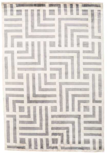 Maze Rug 170X240 Authentic  Modern Handknotted Light Grey/Beige ( India)