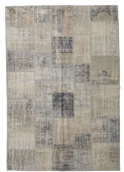 Patchwork Rug 204X298 Authentic  Modern Handknotted Light Grey/Light Brown (Wool, Turkey)