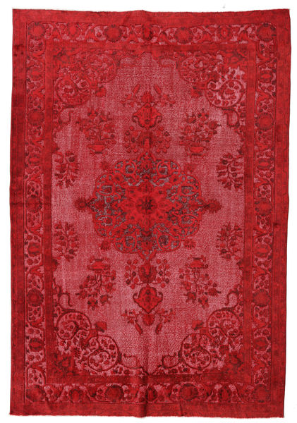 Colored Vintage Relief Rug 213X310 Authentic  Modern Handknotted Crimson Red/Rust Red (Wool, Turkey)
