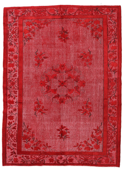 Colored Vintage Relief Rug 216X290 Authentic  Modern Handknotted Crimson Red/Rust Red (Wool, Turkey)