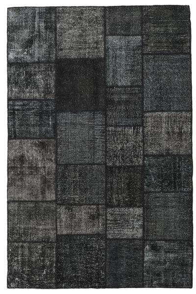 Patchwork Alfombra 198X303 Moderna Hecha A Mano Negro/Azul Oscuro (Lana, Turquía)