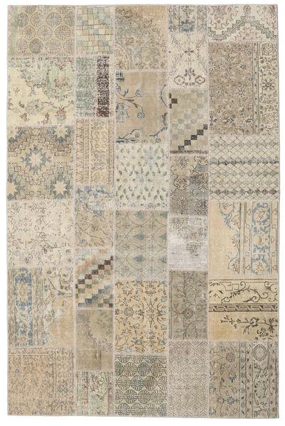 Patchwork Tapis 196X301 Moderne Fait Main Marron Clair/Beige Foncé (Laine, Turquie)