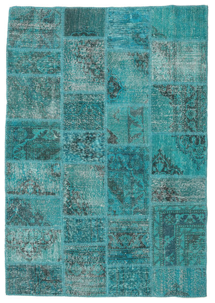 Patchwork Rug 139X200 Authentic  Modern Handknotted Turquoise Blue/Dark Turquoise   (Wool, Turkey)