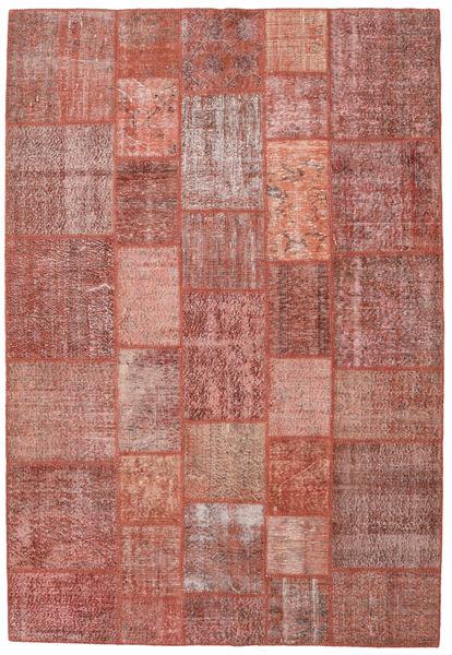 Patchwork Matto 203X299 Moderni Käsinsolmittu Tummanpunainen/Vaaleanpunainen (Villa, Turkki)