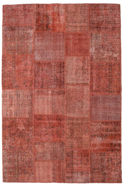 Patchwork Matto 197X300 Moderni Käsinsolmittu Ruskea/Tummanpunainen (Villa, Turkki)