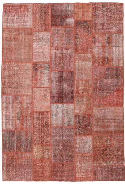 Patchwork Matto 205X300 Moderni Käsinsolmittu Ruskea/Vaaleanpunainen (Villa, Turkki)