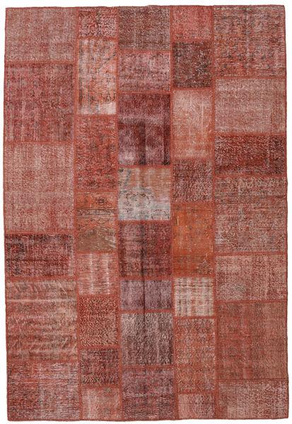 Patchwork Matto 204X302 Moderni Käsinsolmittu Tummanpunainen (Villa, Turkki)