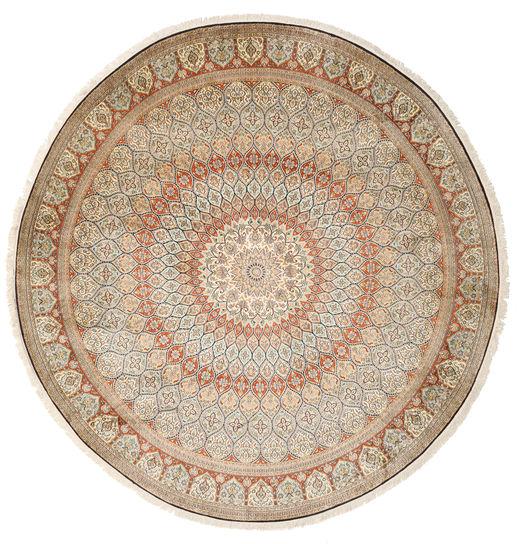 Kaschmir Reine Seide Teppich  Ø 248 Echter Orientalischer Handgeknüpfter Rund Hellbraun/Hellrosa (Seide, Indien)