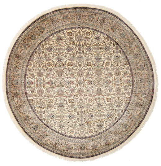 Kashmir Pure Silk Rug Ø 249 Authentic  Oriental Handknotted Round Light Brown/Dark Brown (Silk, India)
