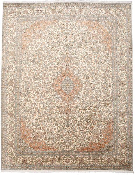 Kashmir 100% Silkki Matto 277X360 Itämainen Käsinsolmittu Vaaleanruskea/Vaaleanharmaa Isot (Silkki, Intia)